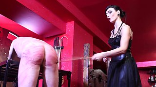 Very hard whipping punishment by strict cruel brunette mistress