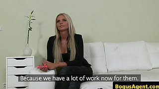 Masturbating euro beauty titfucks fake agent