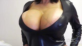 big tits latex dress