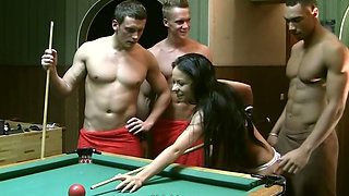 Dirty brunette slut is fucked hard in outrageous gangbang