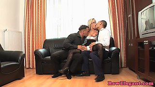 Euro cougar assfucked in threesome