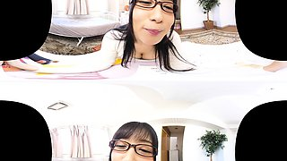 Sweet Asian teen with glasses flashes her hairy pussy in POV