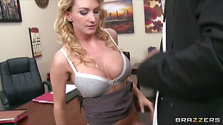 Busty blonde boss begs her employee to fuck her hard in the
