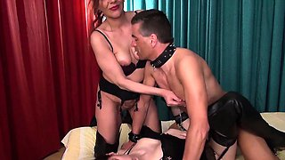 Mistress Gina educates her horny slave girl. First she