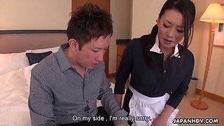 Perfectly shaped Japanese maid Rei Kitajima is poked doggy well