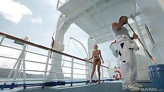 Kristal Anne seduces a cleaner for a great shag on a deck