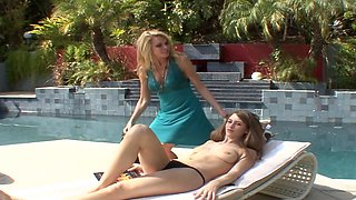 Hot lesbian one on one after pool with Delilah Blue and Alexa Styles