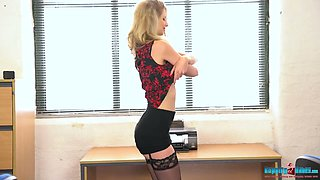 Leggy secretary in stockings Leah gets naked in the office