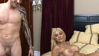 Busty Blonde Pornstar Carmel Moore Pleasing a Cock