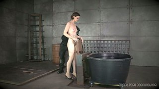 Poor brunette slave girl Hazel Hypnotic gets prepared for breath games