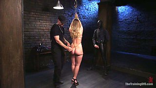 Two kinky dudes punish deep throat and pussy of sizzling chained babe Harley Jade