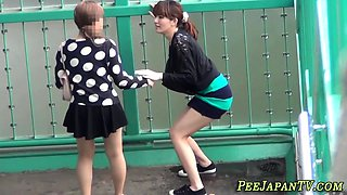 Naughty asian teens pee