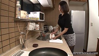 Asian Housewife Gets Fingering And A Fuck In The Kitchen
