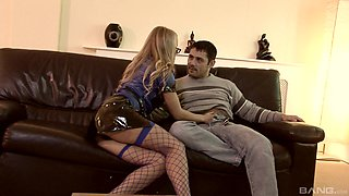 Blonde in latex police uniform Dora Venter sucks and rides a lucky guy
