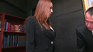 Secretary beauty gets hardcore threesome fuck on a desk
