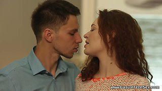 Romantic babe Shelley Bliss blows cock so nice late in the evening