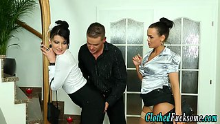 Clothed euro glamour babes fuck