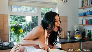 Horny wife with big boobs Jasmine Jae fucked in a kitchen