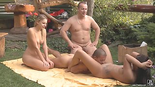 Swapping partners outdoors started by two hotties Bernice and Cipriana