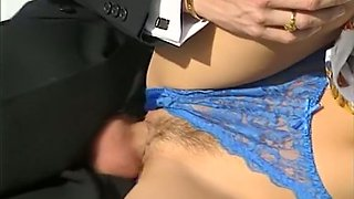 Stunning classic blonde babe gives head and rides on a dick