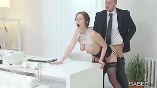 Lustful secretary Antonia Sainz is nailed doggy style in the office