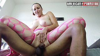 Chubby tattoed chick gets rammed hard by black dick