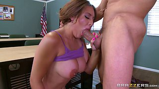 Busty brunette spreads her mind-blowing legs for the pussy penetration