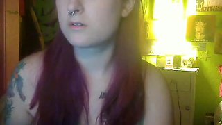EMO babe eats cum of small cock on webcam