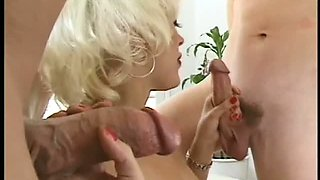 Blonde sweet babe is fucked by her BF and his friend in a hotel room. Tasty video