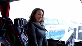 nice milf horny in a bus