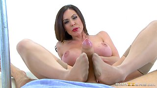 Experienced MILF pornstar in pantyhose gets fucked by a big dick man