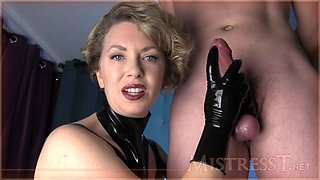 mature mistress jerks off a younger guy