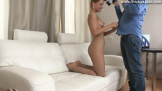 Zealous light haired girlie in pantyhose bends over to suck lollicock