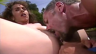 Mature couple have a nice anal fuck by the pool