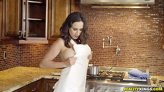 sexy lesbian roommates taste each other in the kitchen!