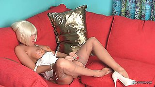 Sexy blonde chick LilyWOW in thinnest vintage nylons