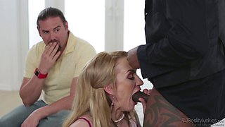 Chubby white guy watches his sexy wife fuck a black cock