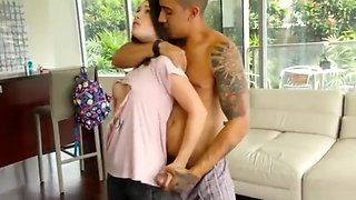 Sexy sister angers her stepbrother brunette