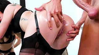 Busty Kissa Sins gets oiled and fucked anal