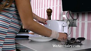 Sofi Goldfinger masturbates in her kitchen