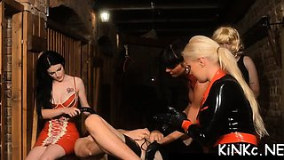 Mean mistress ties up villein and plays with his ass
