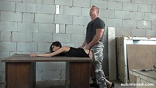 Ashley Ocean has her hands tied up while she gets spanked and abused