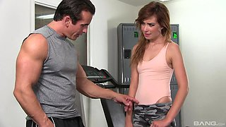 Skinny redhead teen Kaylee Haze gets her pussy fingered in the gym