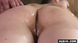 sexy brunette miky love with round booty gets asshole fingered and pussy fucked on massage table
