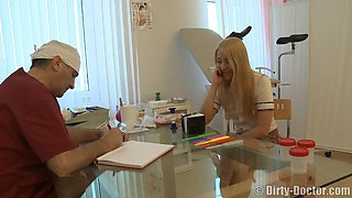 Blonde shaved pussy ravished hardcore by horny doctor