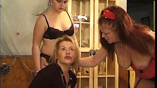 Sexy mature and young lesbians in BDSM action