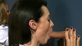 Clothed milfs sucking gloryhole cocks