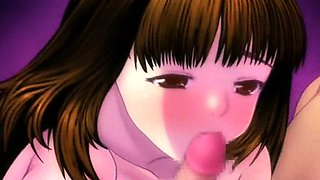 Anime girl giving boobjob and BJ gets facialized
