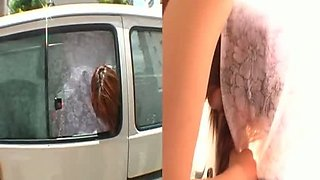 Soaking tight pussy of redhead Mai Asaoka is fingered and licked in the car