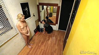 Skinny blonde slag gets punished by a raven-haired hussy